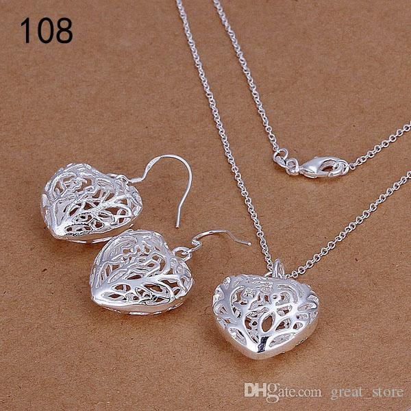 Üst Aynı fiyat gümüş takı setleri, moda 925 gümüş kolye bilezik Küpe Yüzük takı seti GTS68A ücretsiz gönderim