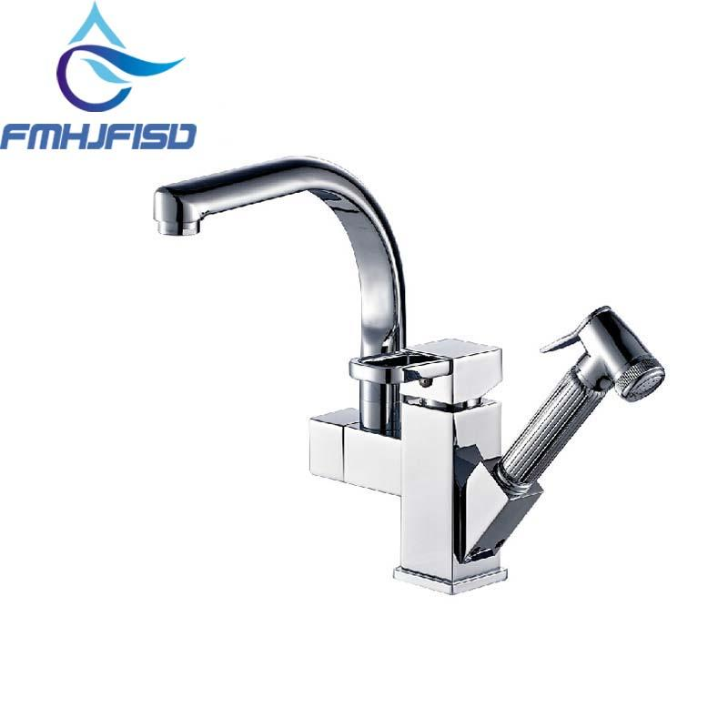 Wholesale Deck Mounted Chrome Brass Kitchen Faucet Pull Out Sprayer Vessel Bar Sink Faucet Single Handle Hole Mixer Tap