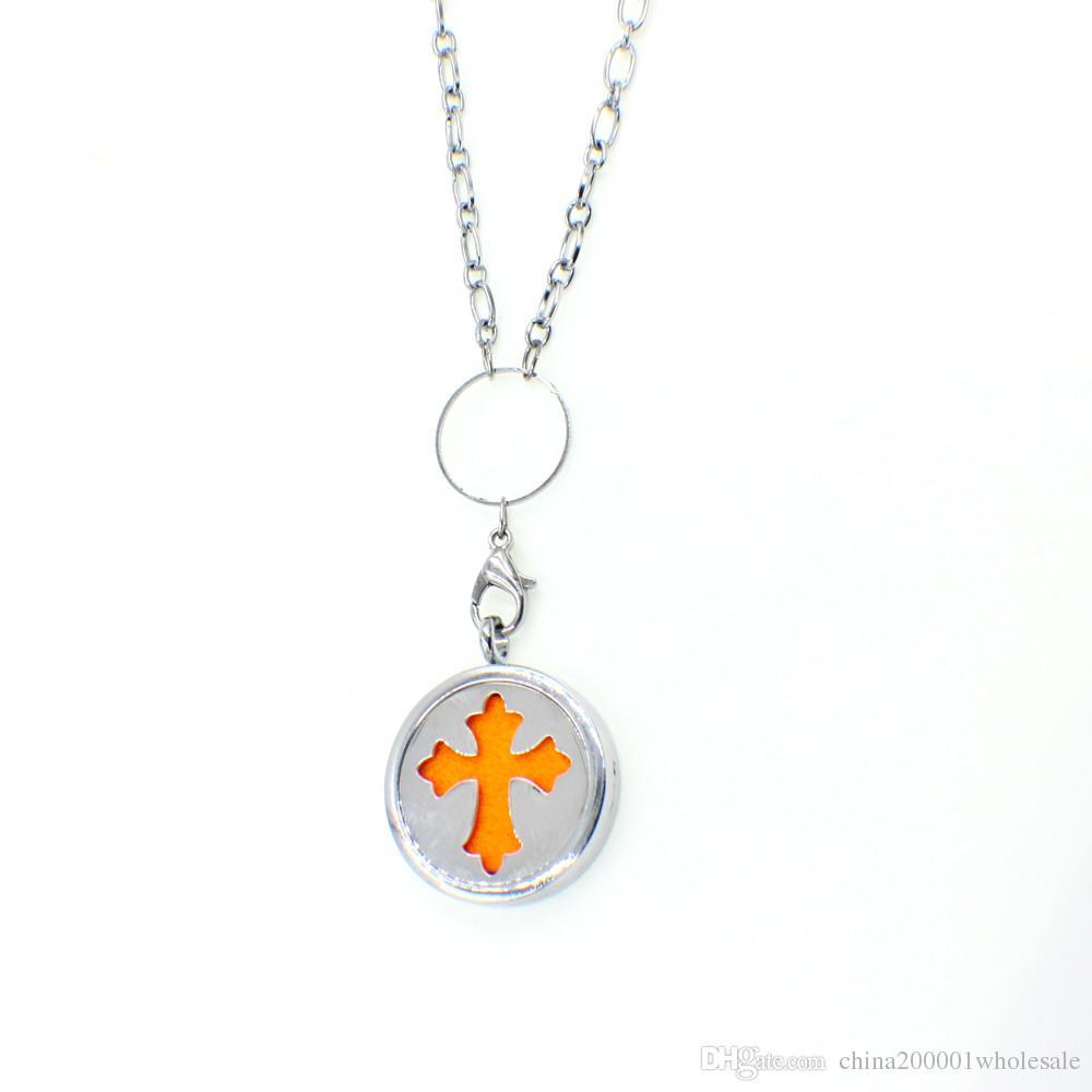 Крест Magnetic Духи Ароматерапия эфирное масло Диффузор Locket Плавающий Медальон кулон войлочные прокладки случайно свободно XX133 в качестве подарков