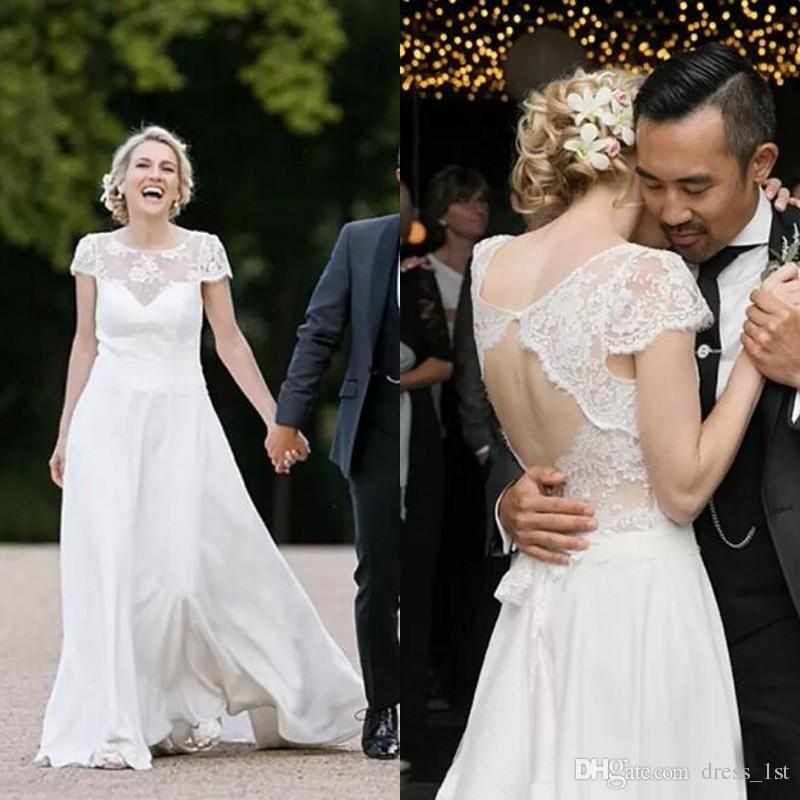 dbe083b36dfd Discount Charming 2017 Ivory Lace And Chiffon Country Garden Wedding  Dresses Cheap Cut Out Back Short Sleeves Long Bridal Gowns Custom Made  EN8071 Weding ...