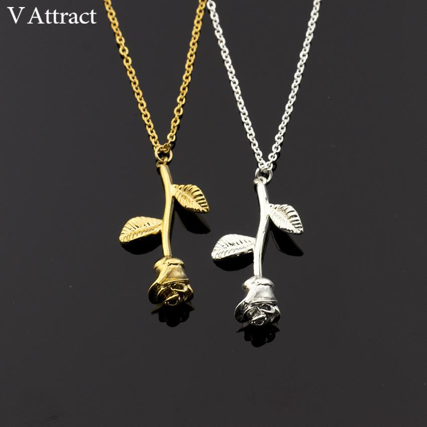 Wholesale V Attract Bijoux Femme Collier 2017 New Pink Gold Rose