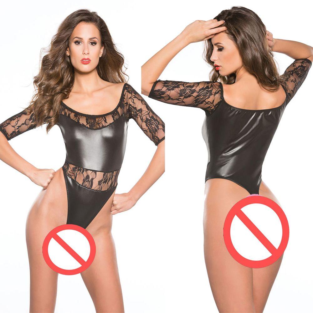 Lace Half Sleeve Women Bodysuit Faux Leather Lingerie Sexy Ladies Teddy High Cut One Piece Underwear