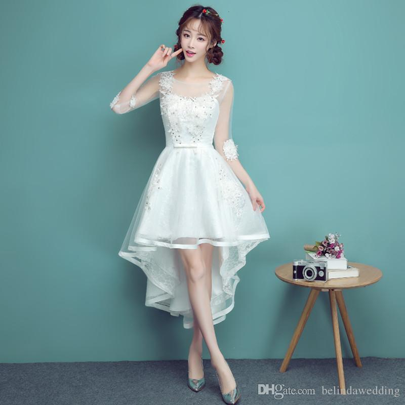 eae4d4d089 Country White Bridesmaid Dresses Cheap Tea Length High Low Beaded With Hand  Made Flower Party Wedding Guest Dress Maid Honor Gowns Dresses Online  Evening ...