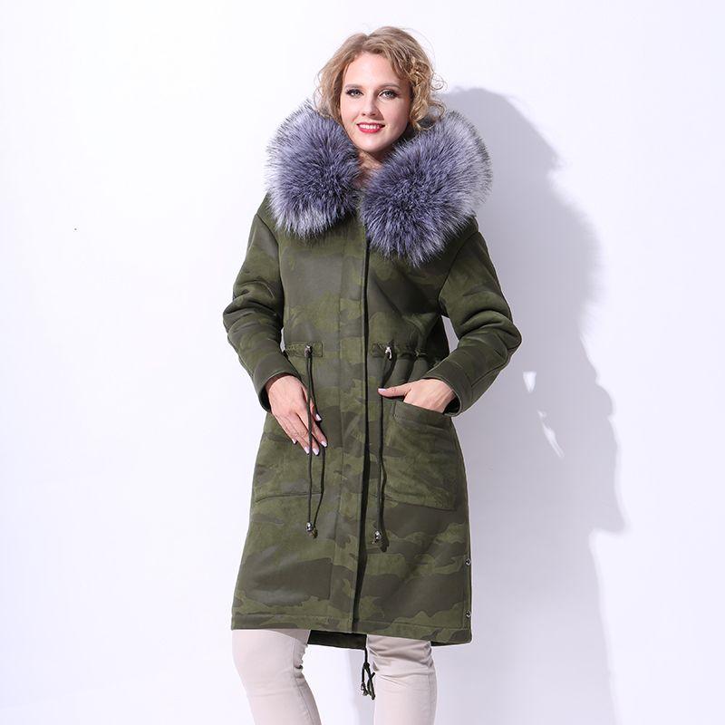 2017 Winter Faux Fur Coat Women Suede Camouflage Drop Shoulder ...
