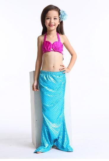 Grils Swimming wear baby Beach Bikini dresses fish tail clothes children swimming wear swim polyester wear clothing DHL free YY003
