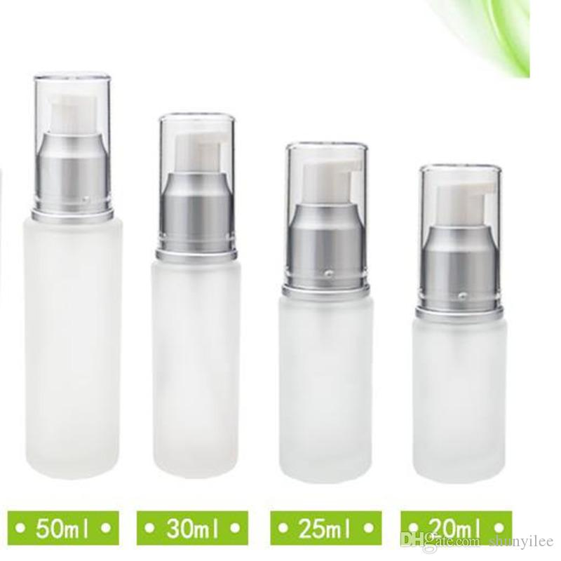 20ml 30ml 50mlの携帯用詰め替えボトル曇らされたガラスロールプレスボトルポンプボトルメイクアップとスキンケアディスペンサーF2017587