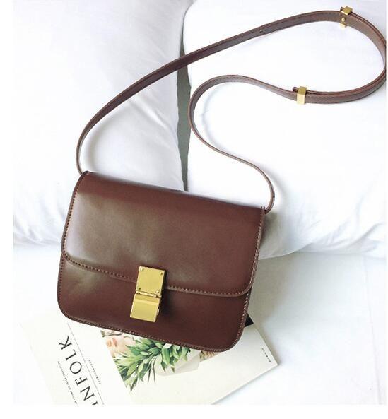 New Designer Brand Small Flap Women Classical Box Bag Split Leather Handbags Ladies Cowhide Messenger Bag For Female