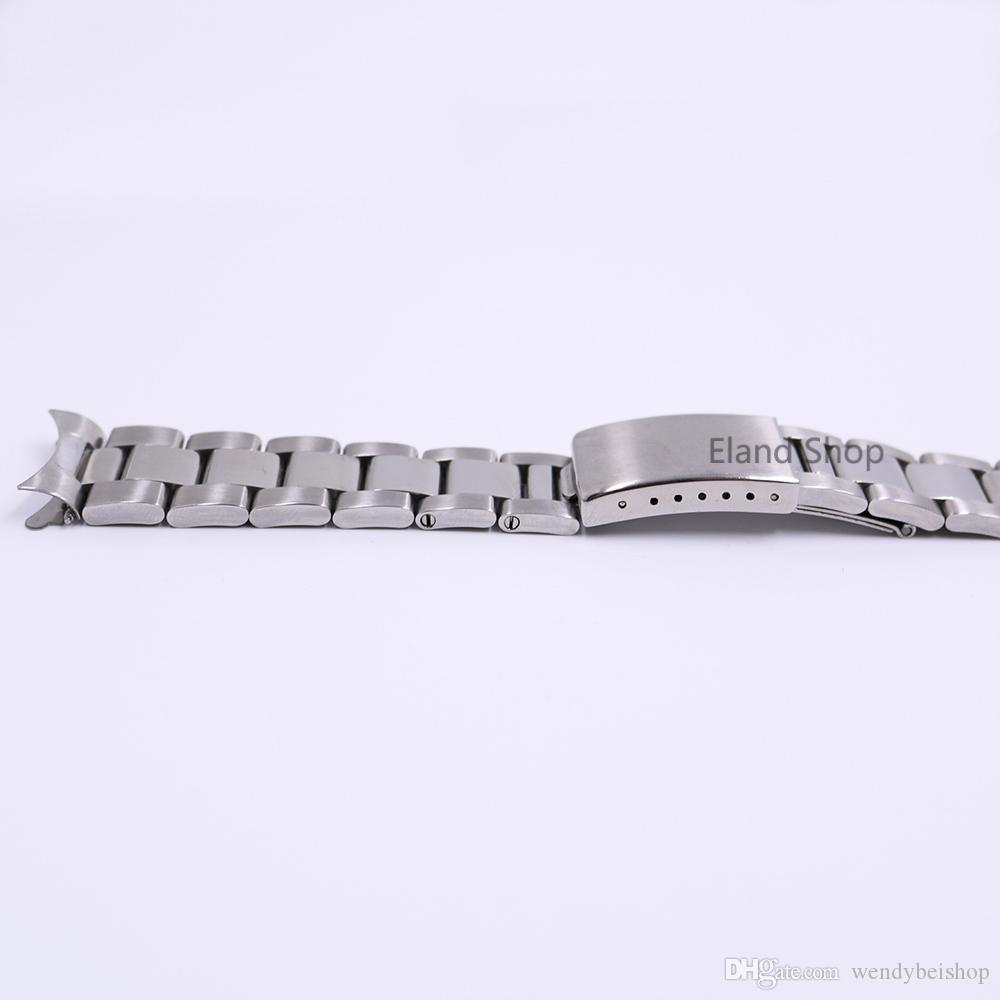 CARLYWET 19 20mm Stainless Steel Silver Middle Polish Hollow Curved End Solid Screw Links Watch Band Strap Old Style Bracelet