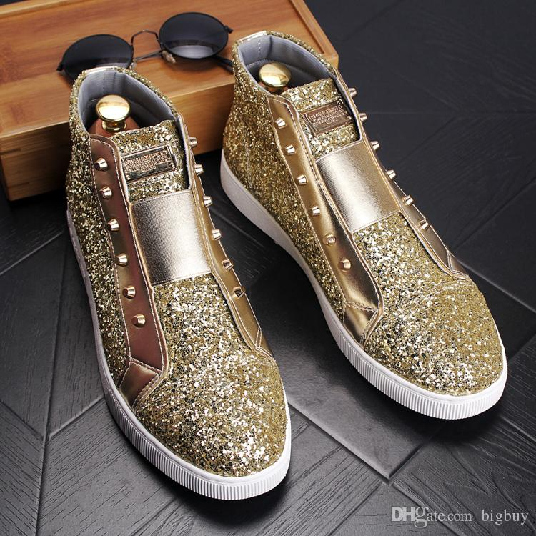Men S Fashion Rivets Glitter Sequins Skating Board Shoes Mens Brand Casual  High Top Sports Flats Man Nightclub Party Ankle Martin Boots Mens Dress  Boots ... e0209e5f5