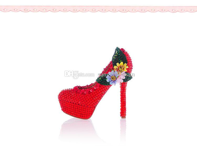 Luxury Red Flower Women High Heels Crystals Cinderella Shoes Bridal Bridesmaid Shoes Prom Evening Night Club Party Super High Heels