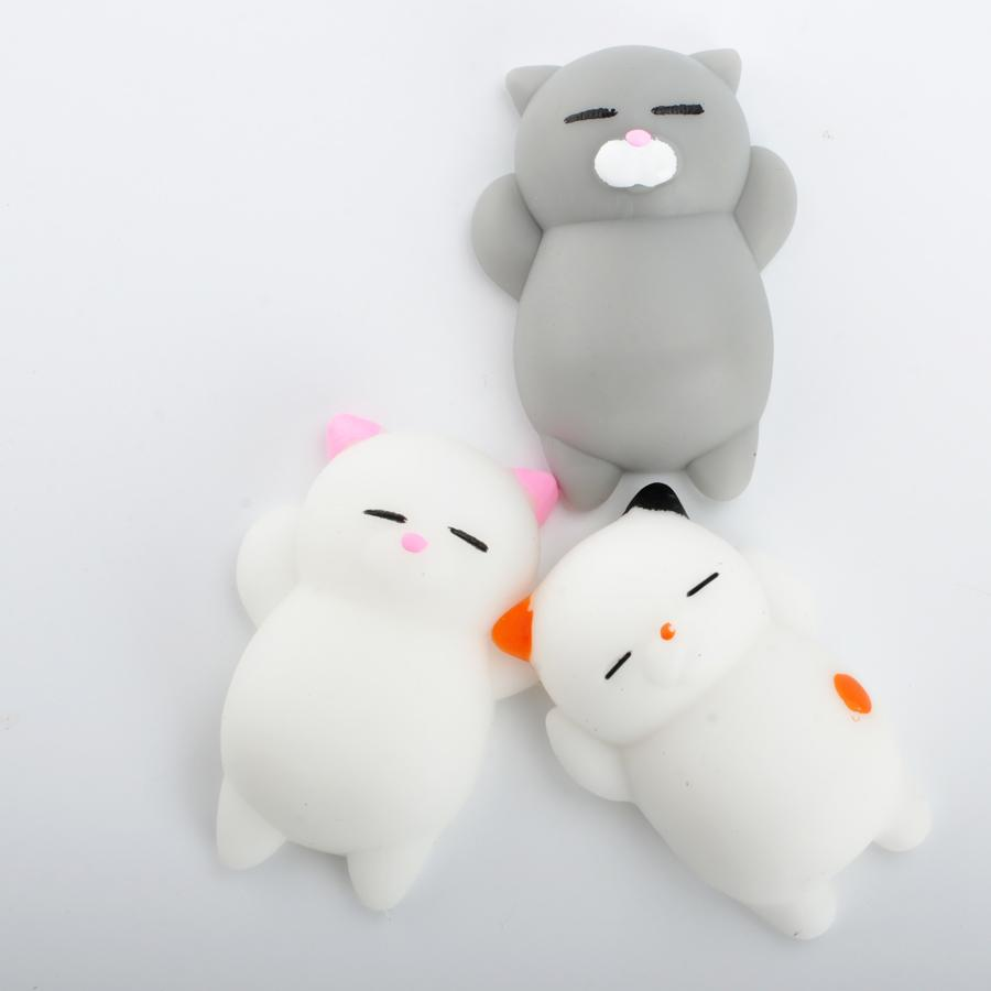 New Lovely 3D Soft Squishy Toys Cat Panda Seal Polar Bear Cute Rabbit Stretchy Squeeze Relieve Stress Paste on Sticker for cellphone Case