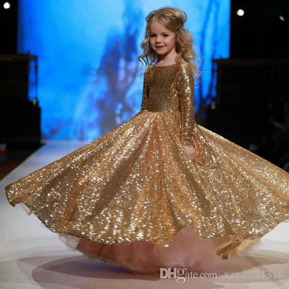 Gorgeous Golden Sequins Pageant Dresses 2017 New Arrival Glittering Flower Girl Dress For Wedding Luxury A-Line Long Sleeve Birthday Dresses