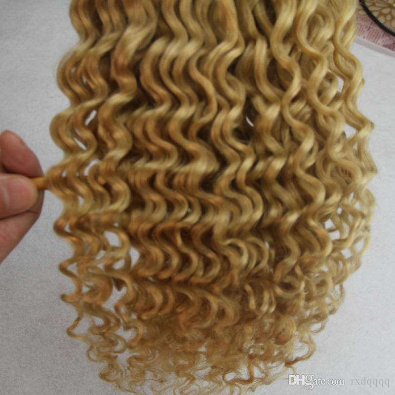 Sarışın brezilyalı saç sapıkça kıvırcık 100g 1 adet 613 Bleach sarışın Brezilyalı Saç Örgü Demetleri 1 ADET Remy Saç Dokuma