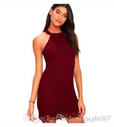 Nouveau Club Girls Wear Lace Dress Halter Plus La Taille S-3XL Cocktail Party Robes De Festa Sexy Gaine D'été Mini Sans Manches 6 Couleurs