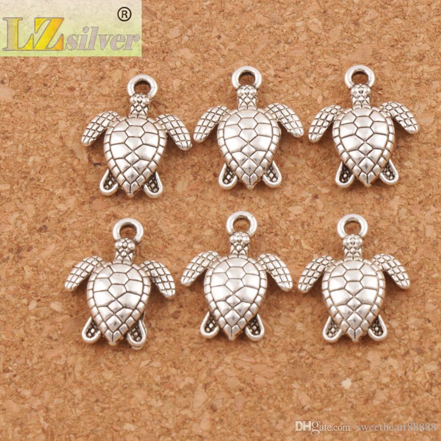 Havssköldpaddor Sköldpadda Charms Pendants / 12x15mm Forntida Silver Smycken Resultat Komponenter Smycken DIY Fit Halsband Armband L1176