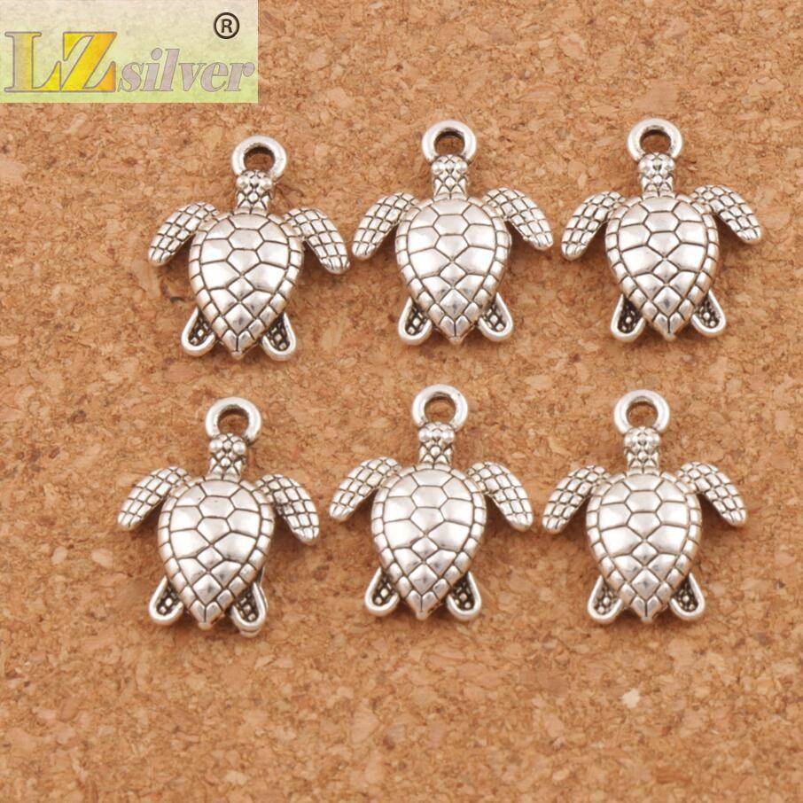 Meeresschildkröten Schildkröte Charms Anhänger 200 Teile / los 12x15mm Alte Silber Schmuckzubehör Komponenten Schmuck DIY Fit Halskette Armbänder L1176