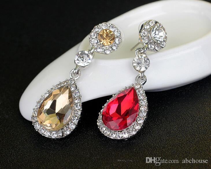 Brincos de Moda Jóias De Cristal Grande Platinum Banhado Dangle Gota de Água Brincos Para As Mulheres Dangle Lustre Anéis de Orelha Ear Drops
