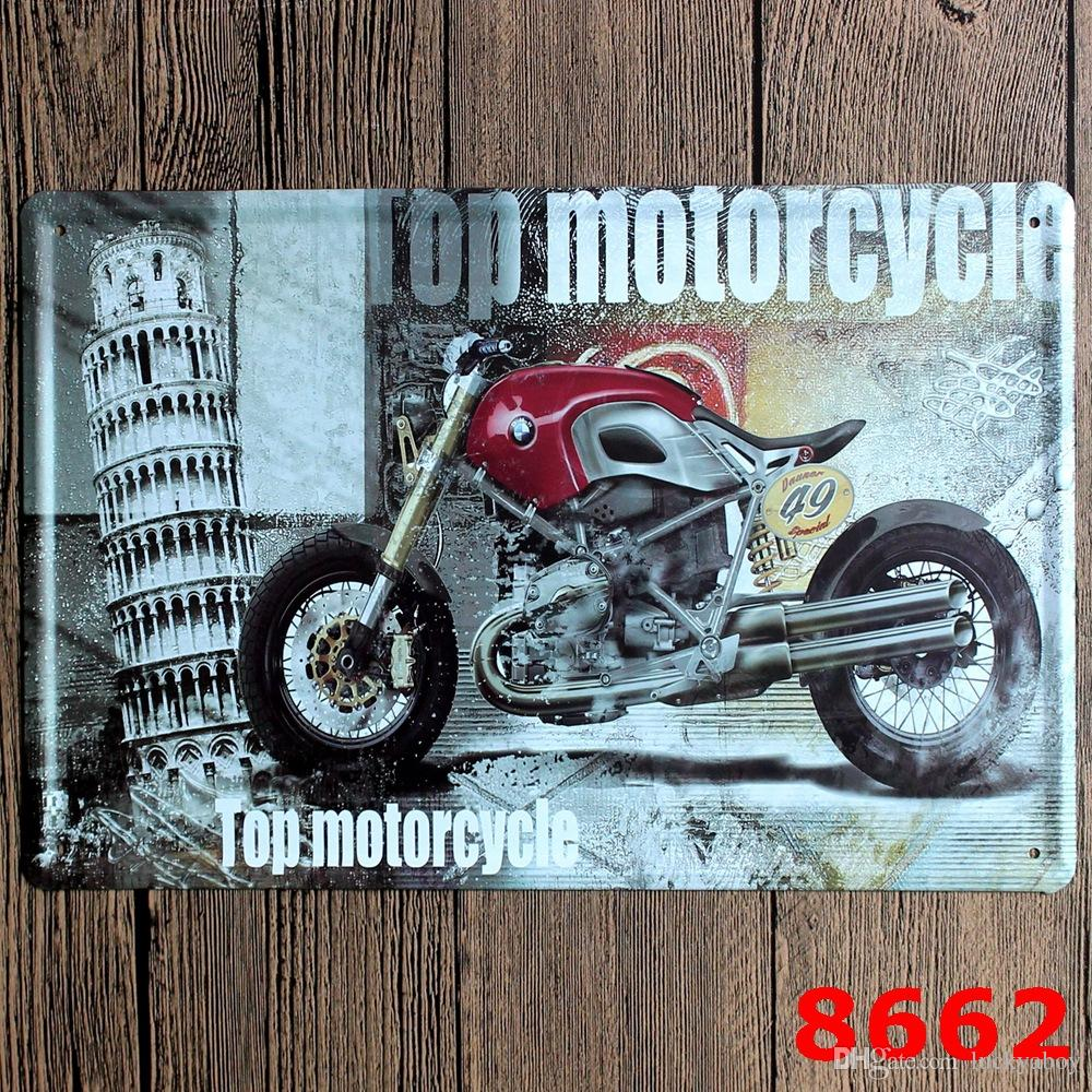 Nostalgic motorcycle Metal Poster Wall Decor Bar Home Vintage Craft Gift Art 20x30cm Iron painting Tin PosterMixed designs