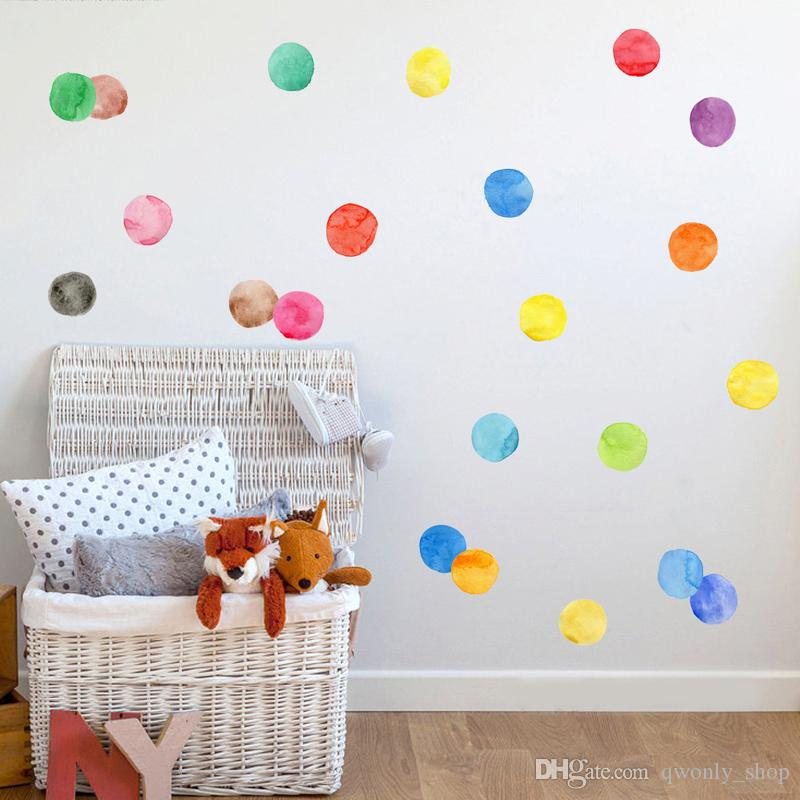Colorful Paw Print Triangle Polka Dots Pattern Wall Sticker Removable PVC Wall Decals Kids Room Stickers Home Decoration