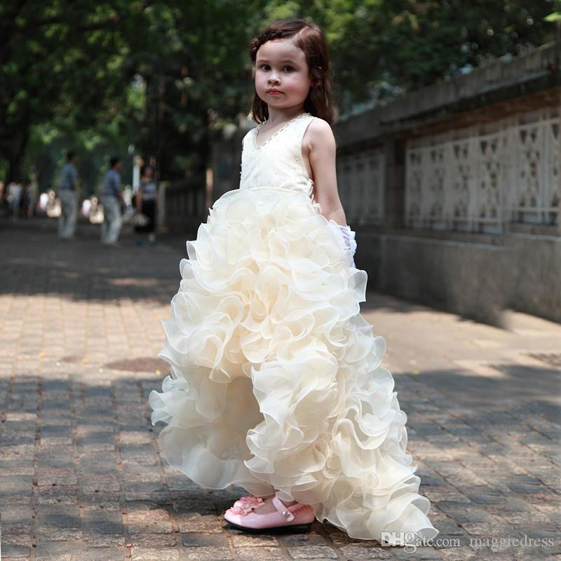 2017 Charming Flower Girls Dresses For Weddings Cheap High Low Ruffles Princess Party Girls Pageant First Communion Dress For Kids Teens