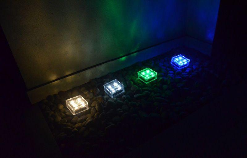 Led solar lâmpada de gelo tijolo 4leds 1led chão em forma de cubo de luz do jardim solar ip68 multi cores sem fio undergroud lâmpada do gramado branco azul
