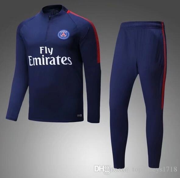 2018 PSG 2017 NEYMAR JR Paris Jacket Sweater MBAPPE Soccer Chandal Football Tracksuit Adult Training Suit Skinny Pants Sports JACKET From