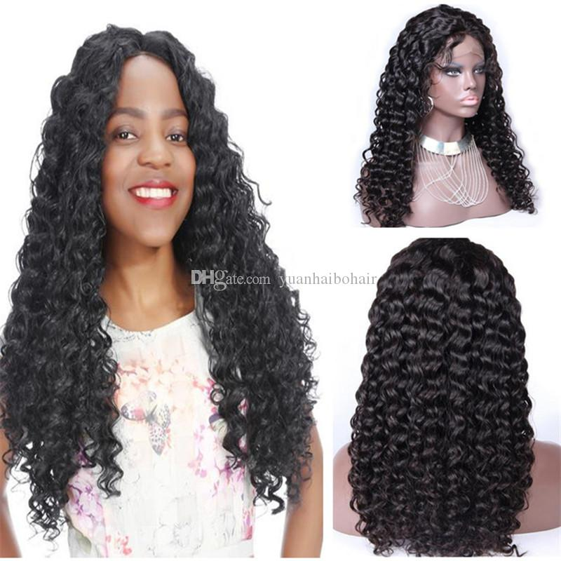 Stocking Human Hair Wigs High Quality 1B Curly Indian Hair Virgin Full Lace Wig Free Shipping