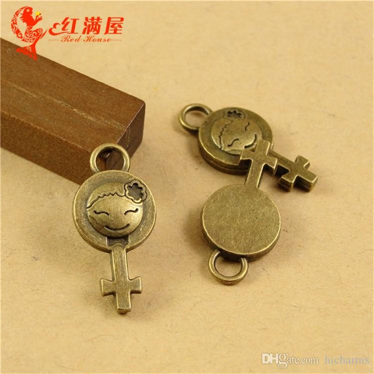 11*23*3MM Antique Bronze girl sign charms for bracelet, metal dangle vintage silver pendant for necklace, fashion tibetan alloy charms