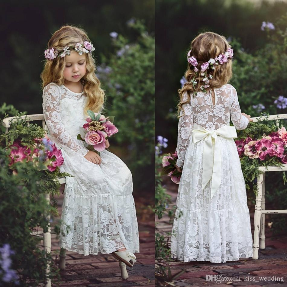 2018 Lace Junior Girls Bridesmaid Dress For Party Weddings Long Sleeves A-Line Baby Kids First Communication Dress White Ivory Custom