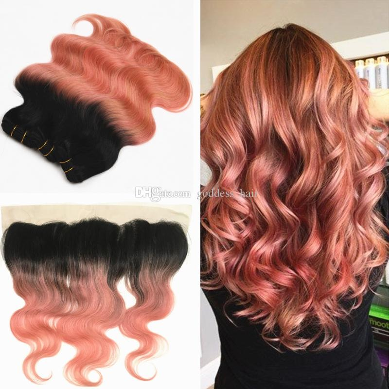 Ombre Rose Gold Pink Lace Frontal With Hair Weft Extension Brazilian