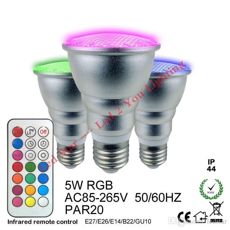 PAR20 PAR30 5W 10W Led Lights RGB RGBW Led Bulbs Waterproof Led Lamp AC 110-240V + Remote Control