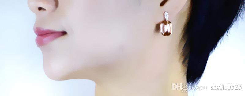 2017 vert Boucles D'oreilles Bijoux Nouvelle mode doré rose or boucles d'oreilles champagne cristal bijoux stud boucles d'oreilles 005-69