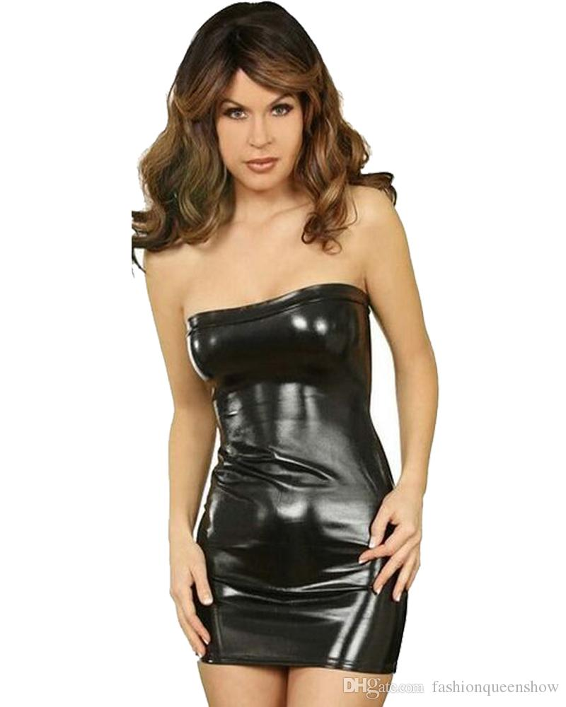 Gold/Blue/Red/Silver/Black Sexy Women Strapless Mini Dress Wet Look Metallic Dancing Stage Clothes Short Boob Tube Dress
