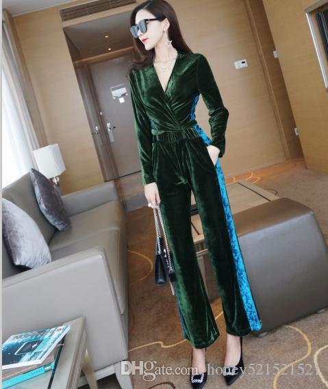 8b0ac3bacaad 2019 Autumn New Fashion Women S Sexy V Neck Long Sleeve Green Blue Color  Block Velvet Long Pants Jumpsuit Rompers Trousers From Honey521521521