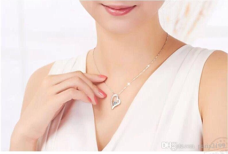 2017 vendite calde 925 sterling silver cristallo romantico amore cuore collana di cristallo romantico amore ciondolo cuore gioielli di moda