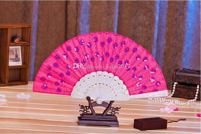 """ful Ladys Spanish Embroidered Sequins Hand Flower Lace Folding Fan """"Peacock Showing Expectations of love"""" Wedding Party Decor HOT"""