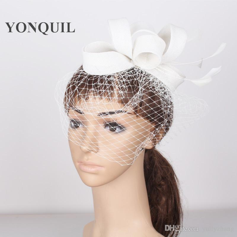 White NEW arrival Fascinator base for Women birdcage Veil hairbands Feather netting Hair top Hat women Cocktail Party pillbox hats
