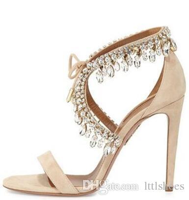 2017 Bling Crystal Fringe Suede Women Sandals Jewel Embellished Gladiator Sandals Women High Heels Pumps Wedding Shoes Woman