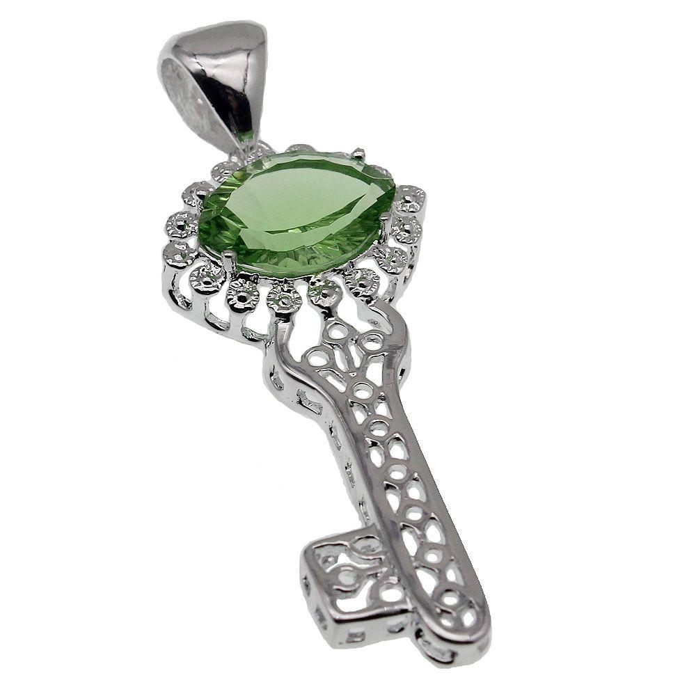 925 Sterling Silver Pendants Necklace Key Design Sparkle Garnet London Blue Topaz Citrine Bling Jewelry