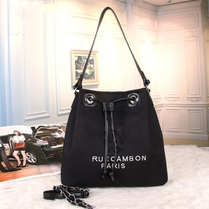 defe3b3e634f Luxury Handbags Women Bags Designer Canvas Drawstring Bucket Bag Famous  Brands Channel Bag Fabric Shoulder Bags Female Crossbody Sac Black Handbags  Weekend ...