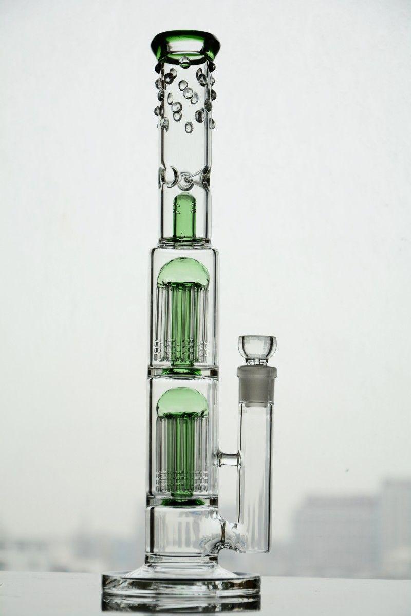 18 mm 조인트와 더블 팔 나무 percs 물 파이프 hookahs 석유 굴착 새로운 고품질 유리 봉 shisha