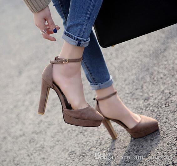 2017 Printemps Chaussures À Talons Hauts Sexy Super Haute Plateforme Pompes Pointu Toe Cheville Sangle Femme talons Hauts Talons Épais Club Porter Des Chaussures