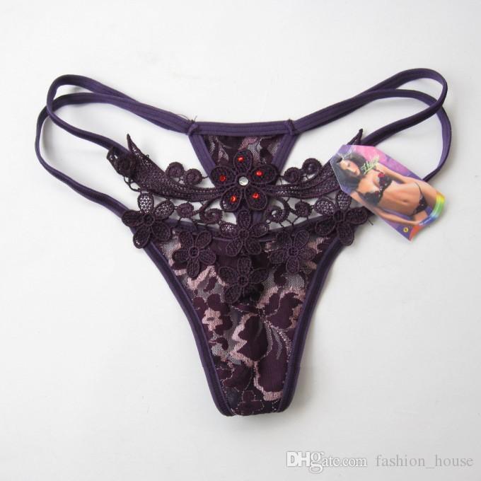 Cadeau privé G-string lingerie sexy lady transparente Thong exquise broderie dentelle sous-vêtements