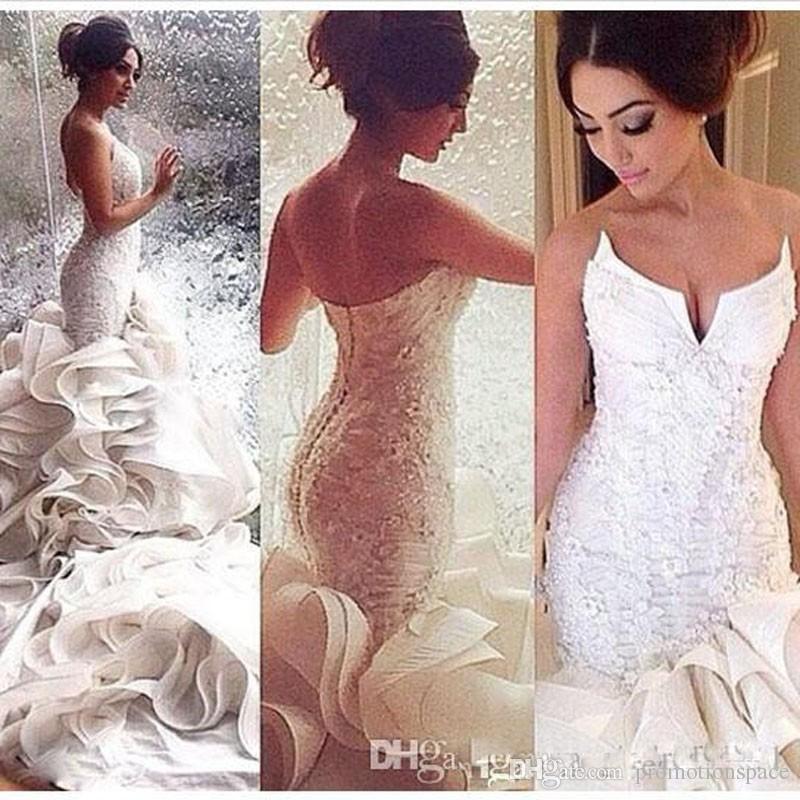 2017 romantiska sexiga sjöjungfrun bröllopsklänningar spetsar upp organza spets applique kapell tåg brudklänningar skräddarsydda plus storlek