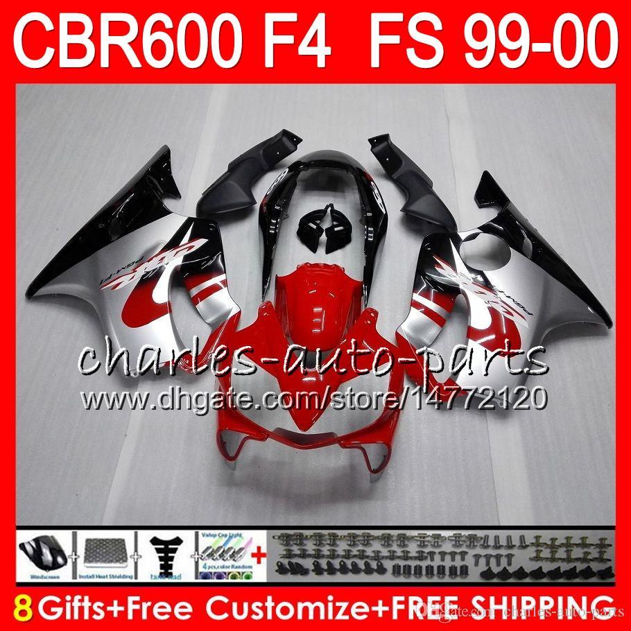 8Presentes Carroçaria Para HONDA CBR 600 F4 99-00 CBR600FS FS vermelho Prata 30HM20 CBR600 F4 1999 2000 CBR 600F4 CBR600F4 99 00 Carenagem Kit