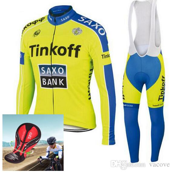 Vacove New Mens Pro Team Saxo Bank Tinkoff Cycling Jersey Bike Long Set Ropa  Ciclismo Quick Dry Black Cycling Wear Bicycle Maillot Culotte Bike Shirt ... de4f23b4b