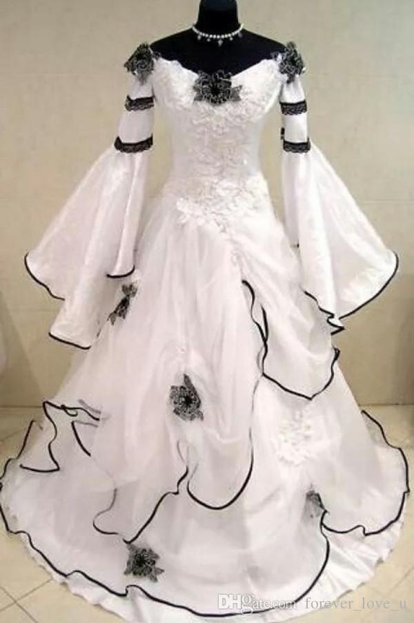 Renaissance Vintage Schwarz-Weiß Mittelalterliche Brautkleider Vestido De Novia Celtic Brautkleider mit Passform und Flare Ärmeln Blumen