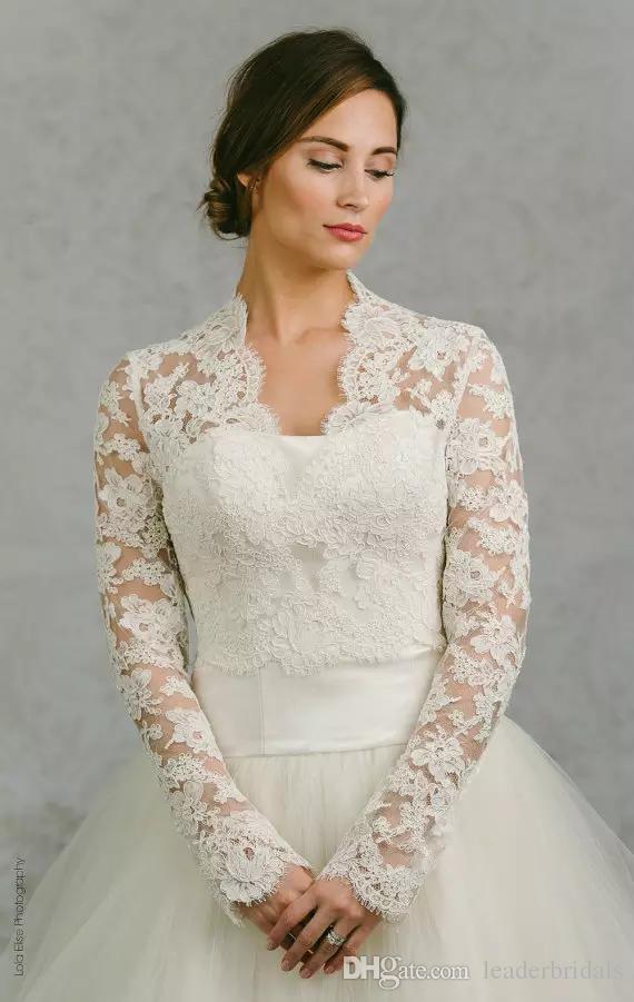 2018 Hot Sale 2018 Bridal Wraps Long Sleeves Bridal Coat Lace ...