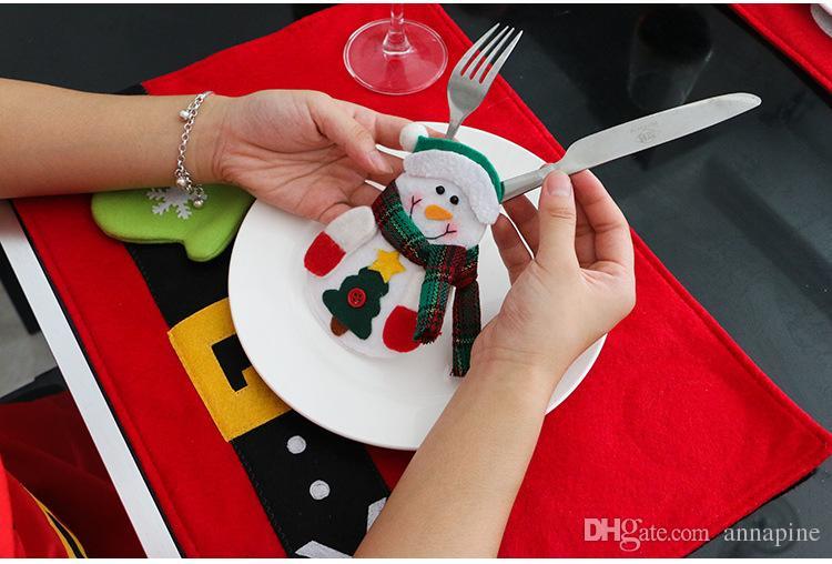 Santa Suit Clothes Christmas Cutlery Silverware Holder Pockets Knives Bag Xmas Party Table Decorations Supplies HA239