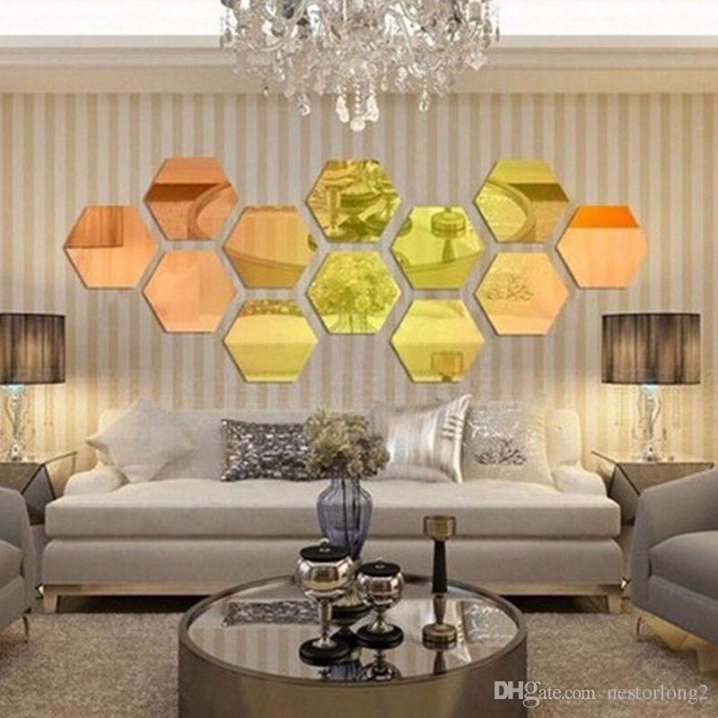 12 adet / takım 3D Ayna Duvar Sticker Altıgen Vinil Çıkarılabilir Duvar Sticker Çıkartması Ev Dekorasyonu Sanat DIY 8 cm